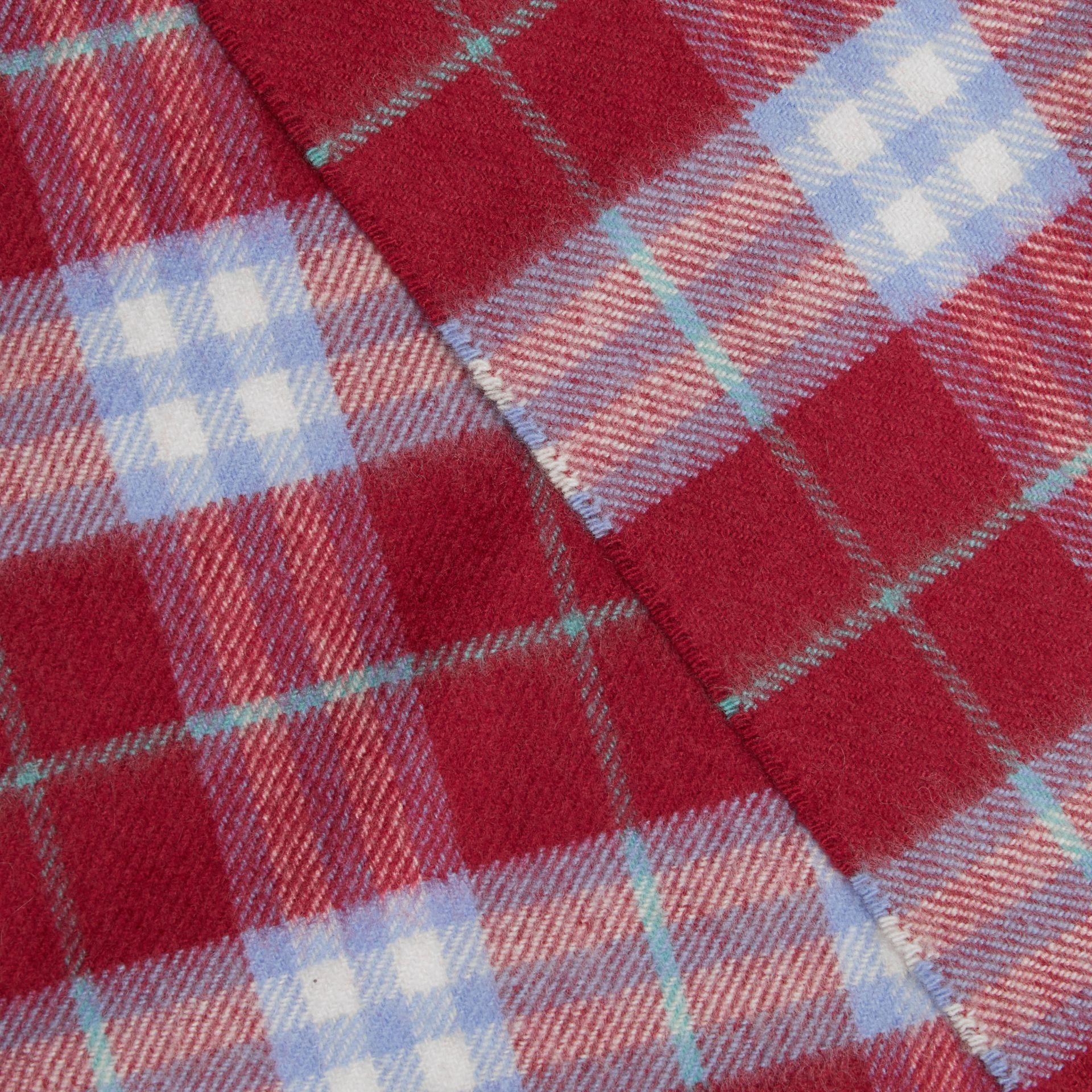 The Classic Vintage Check Cashmere Scarf in Damson Pink | Burberry - gallery image 1