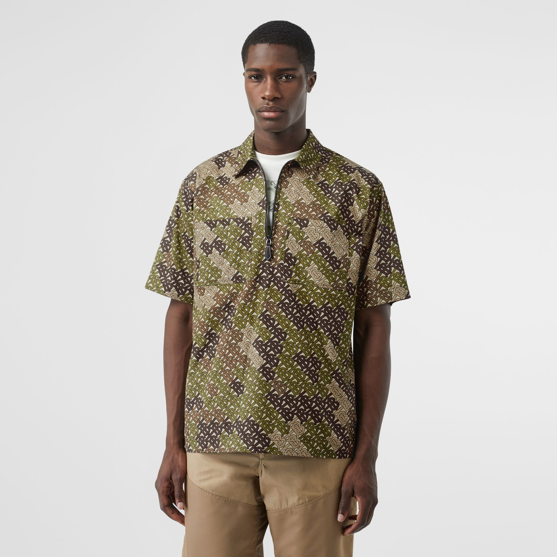Short-sleeve Monogram Print Cotton Shirt in Khaki Green - Men | Burberry - gallery image 4
