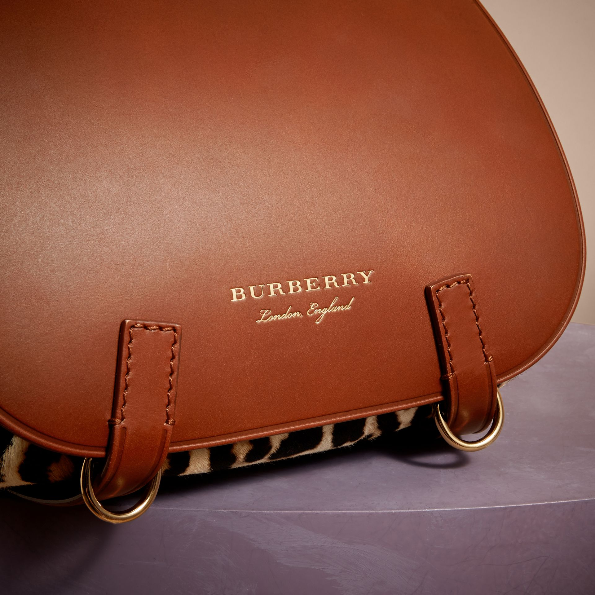 The Bridle Bag in Leopard-print Calfskin and Leather in Tan - Women | Burberry - gallery image 1
