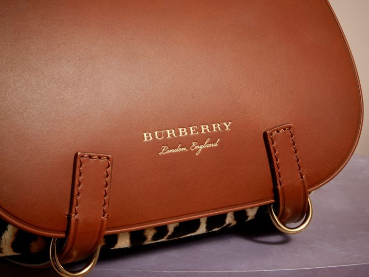 The Bridle Bag in Leopard-print Calfskin and Leather in Tan - Women | Burberry - cell image 1