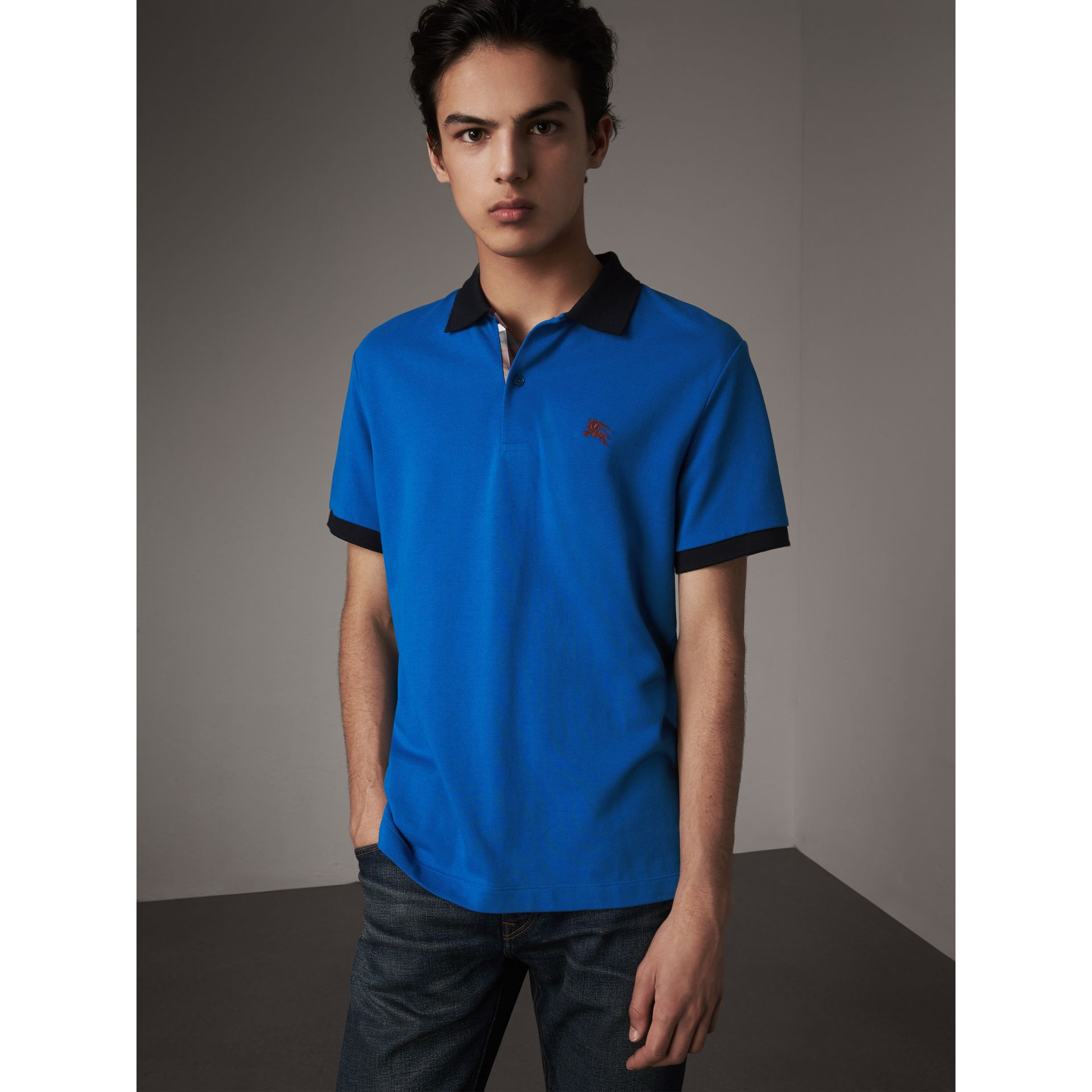 Two-tone Check Placket Cotton Piqué Polo Shirt in Bright Opal - Men | Burberry Singapore - gallery image 5
