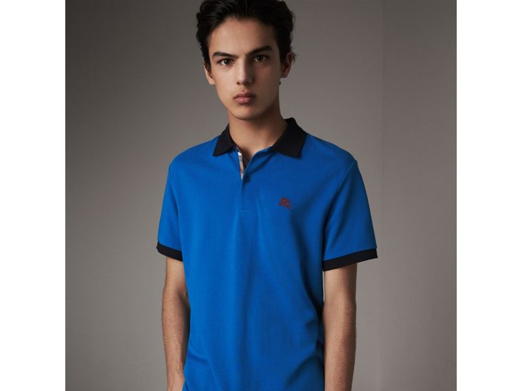 Two-tone Check Placket Cotton Piqué Polo Shirt in Bright Opal - Men | Burberry - cell image 4