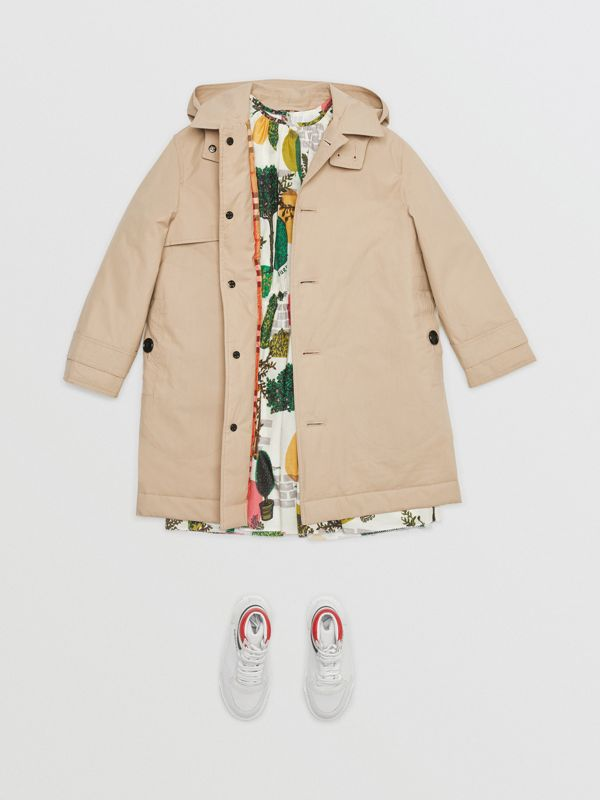 Detachable Hood Cotton Car Coat in Honey | Burberry - cell image 2