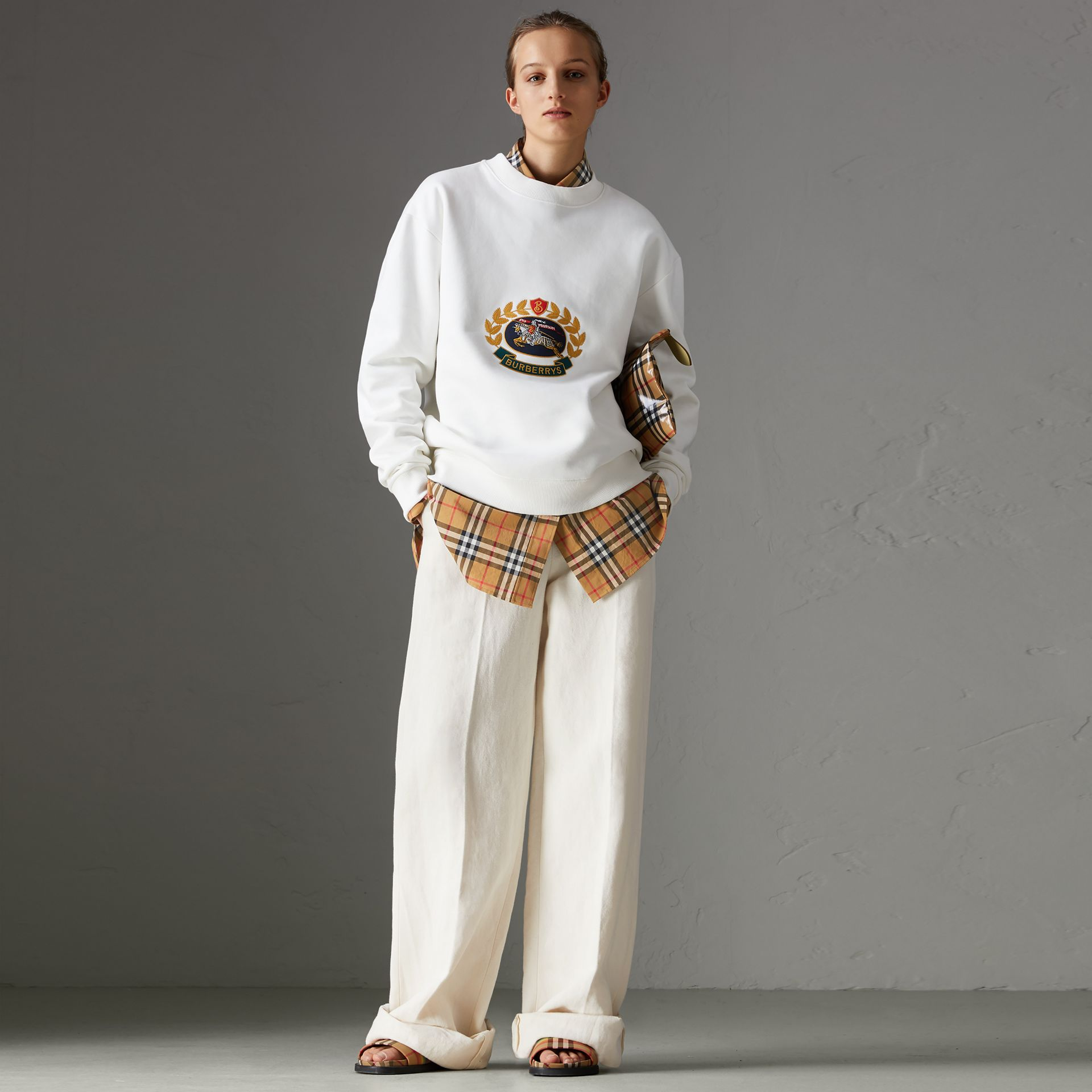 Cotton Linen Canvas Wide-leg Trousers in Off White - Women | Burberry United Kingdom - gallery image 0