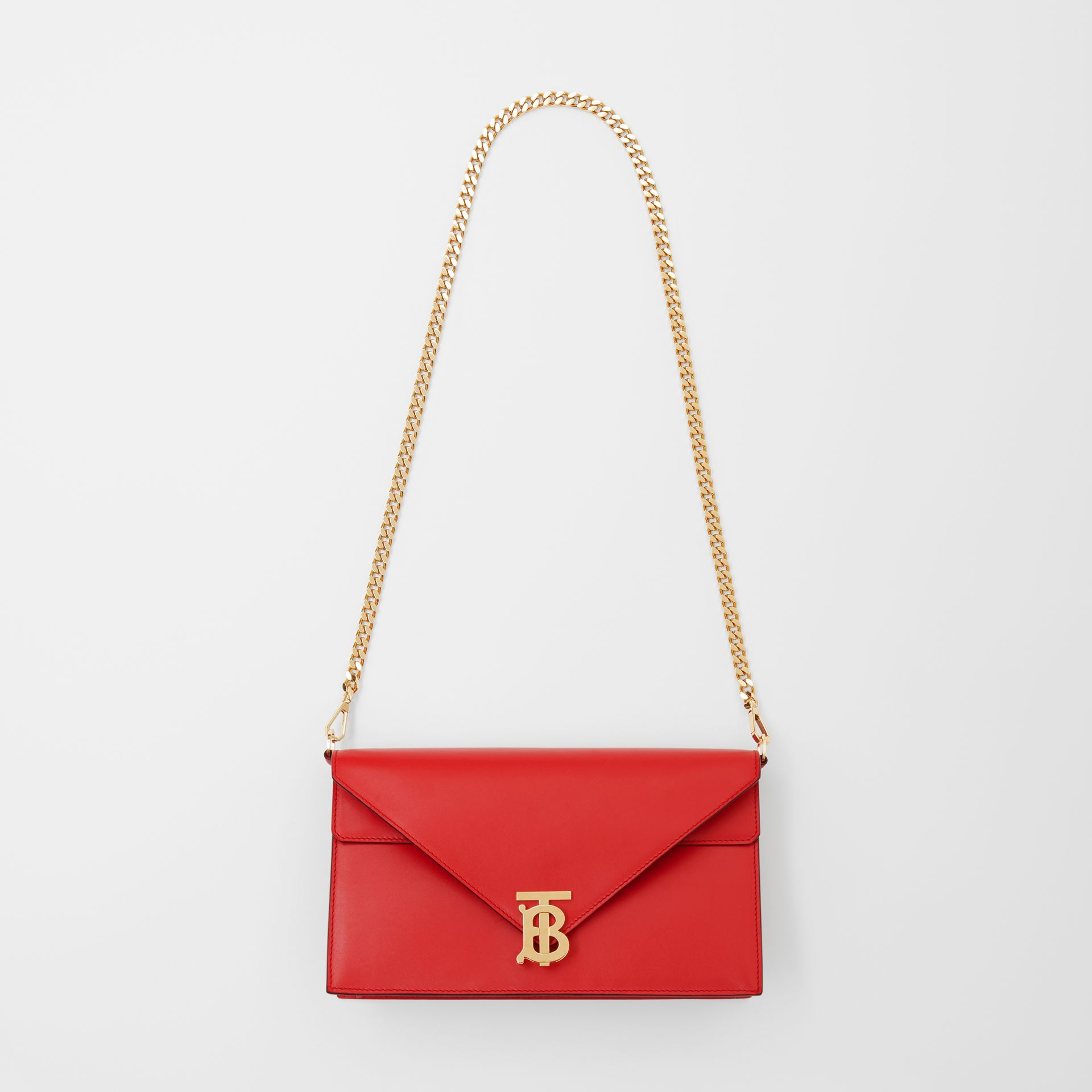 Small Leather TB Envelope Clutch in Bright Military Red - Women | Burberry - gallery image 3