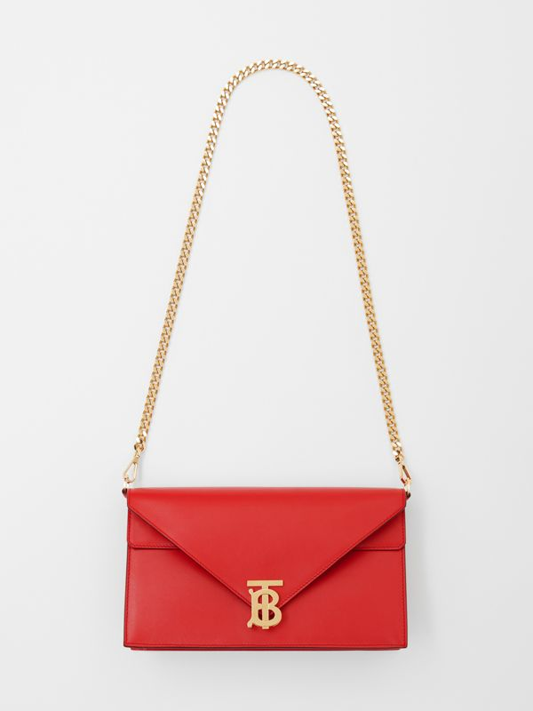 Small Leather TB Envelope Clutch in Bright Military Red - Women | Burberry - cell image 3