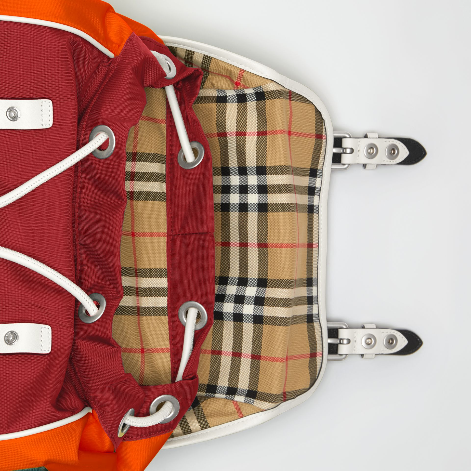 Tri-tone Nylon and Leather Backpack in Parade Red - Men | Burberry Australia - gallery image 3