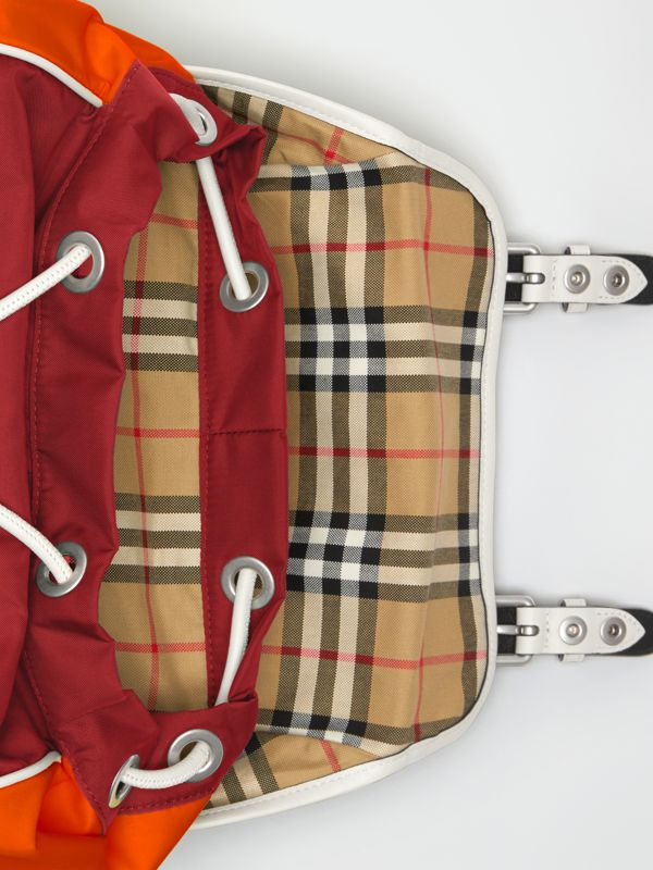 Tri-tone Nylon and Leather Backpack in Parade Red - Men | Burberry Australia - cell image 3