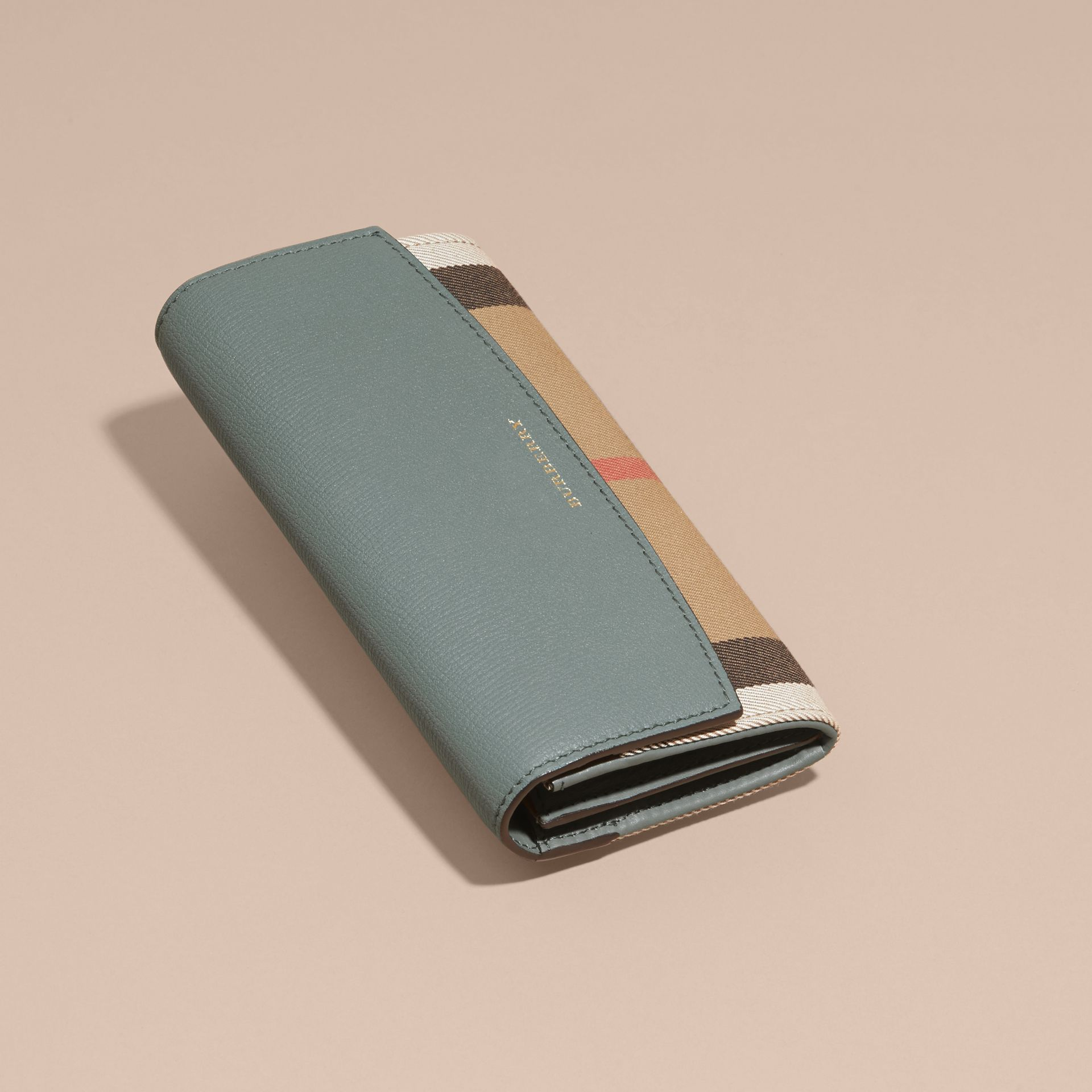 House Check and Leather Continental Wallet in Smokey Green - gallery image 6