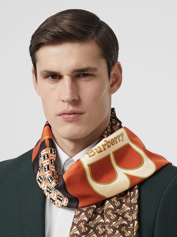 Montage Print Silk Scarf in Bridle Brown | Burberry - cell image 2