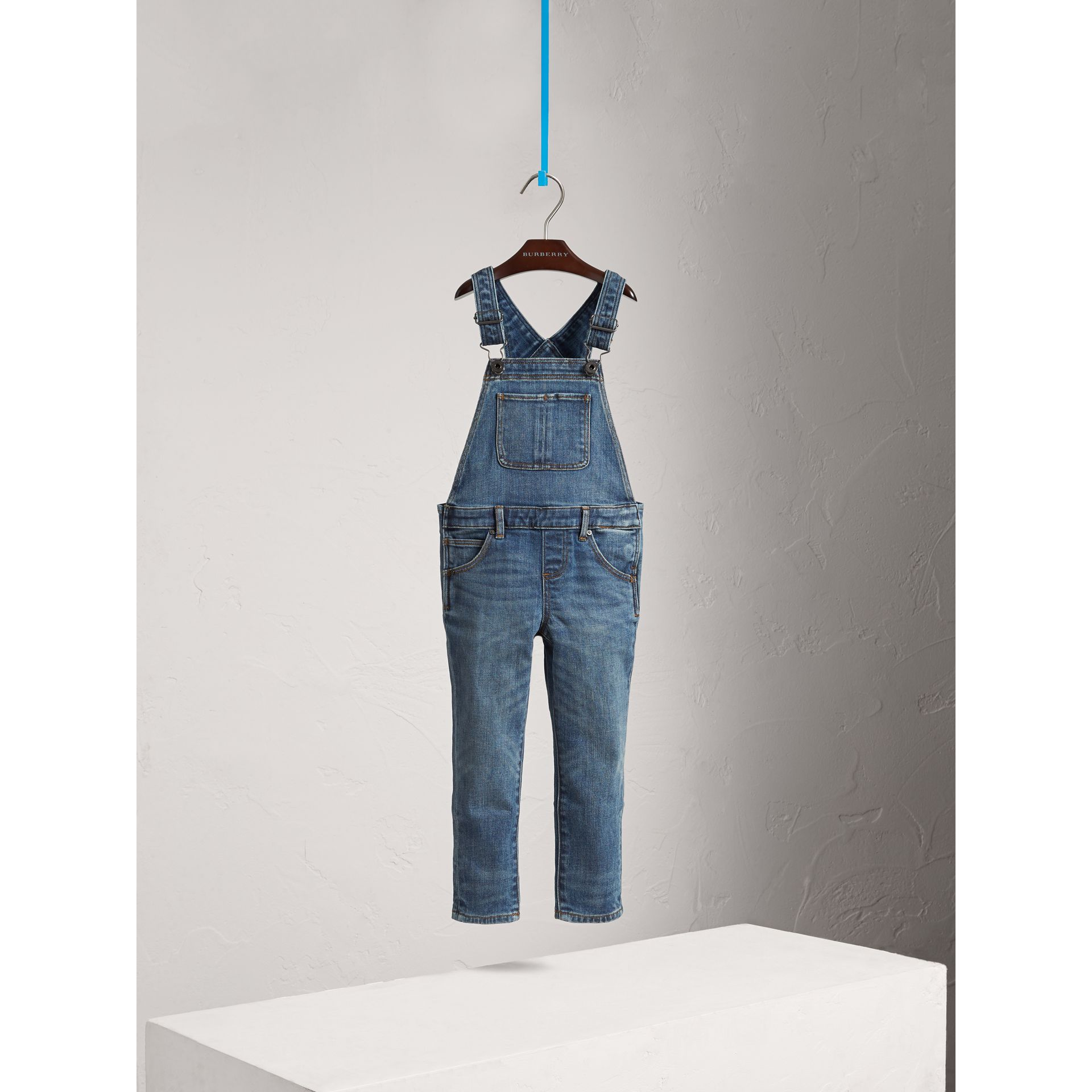 Stretch Denim Dungarees in Mid Indigo - Girl | Burberry - gallery image 3