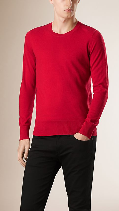 Military red Check Detail Cotton Cashmere Sweater Military Red - Image 1