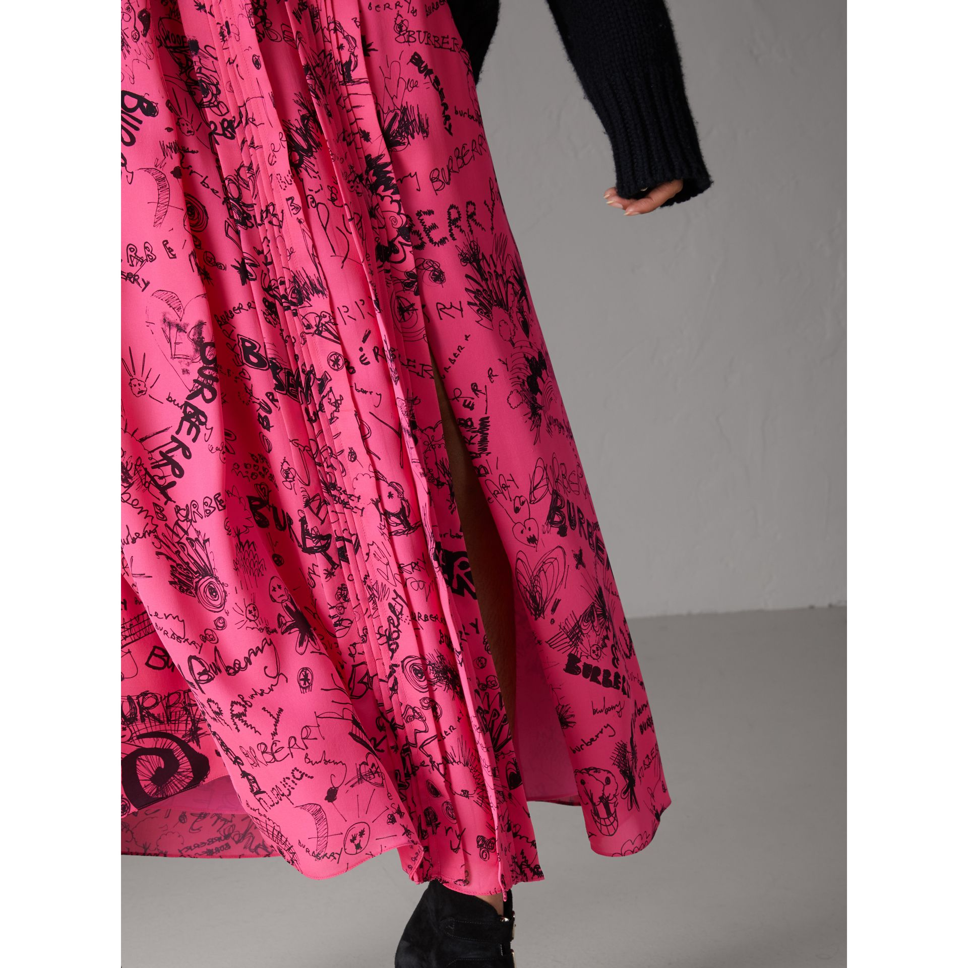 Doodle Print Pintuck Detail Silk Skirt in Fluro Pink - Women | Burberry United Kingdom - gallery image 1