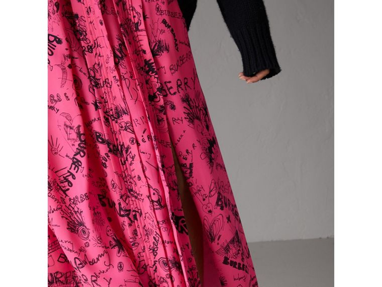 Doodle Print Pintuck Detail Silk Skirt in Fluro Pink - Women | Burberry United States - cell image 1