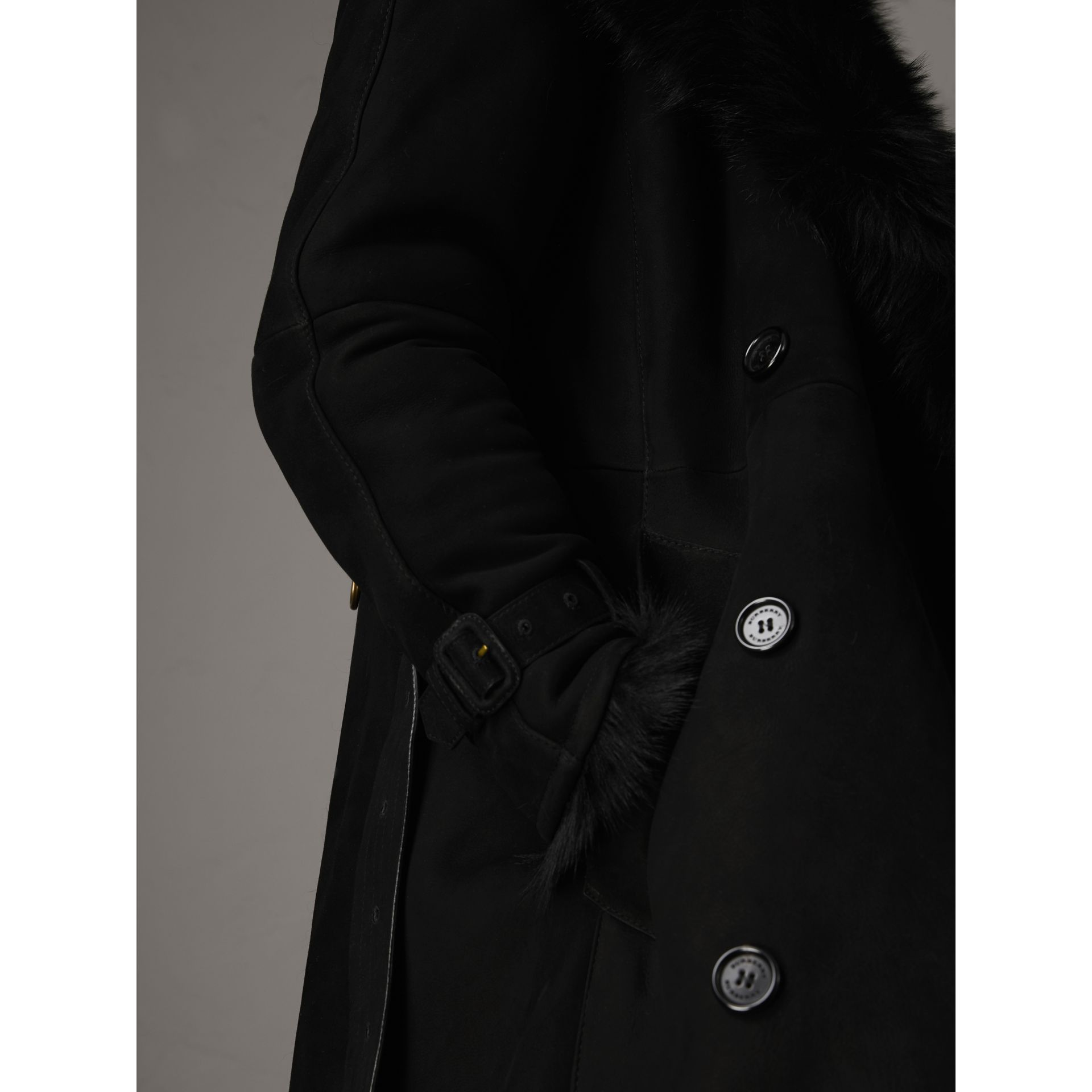 Shearling Extra-long Trench Coat in Black - Women | Burberry - gallery image 5