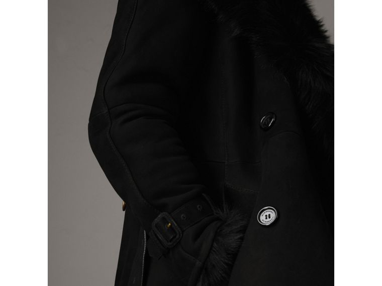 Shearling Long Trench Coat in Black - Women | Burberry - cell image 4