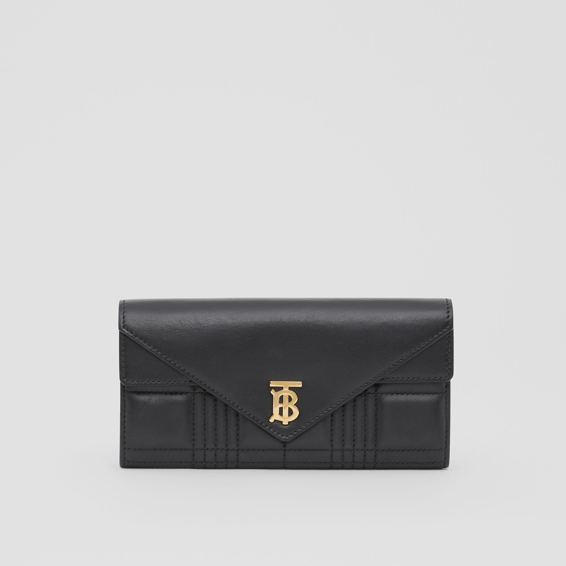Monogram Motif Quilted Continental Wallet in Black - Women | Burberry United Kingdom - gallery image 0
