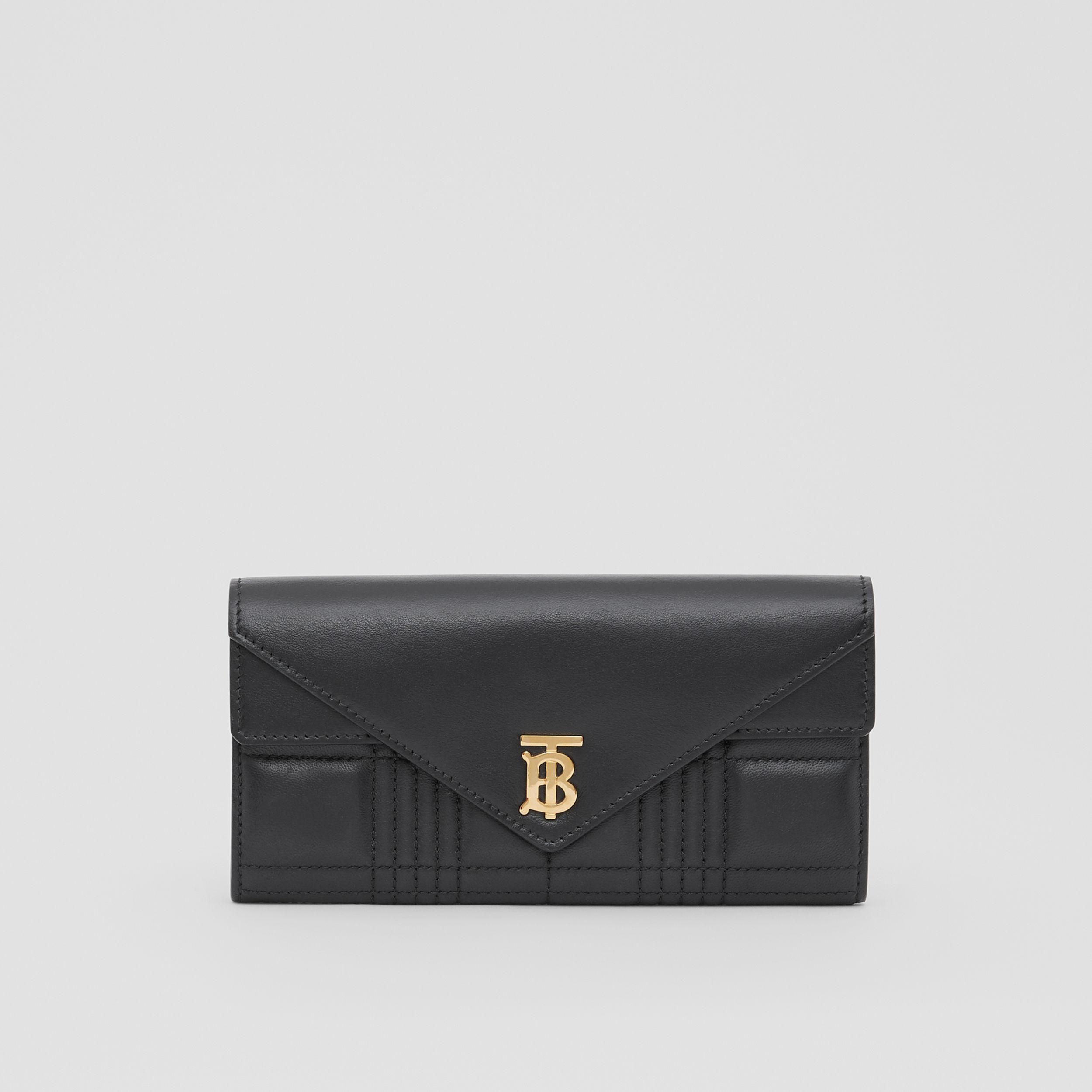 Monogram Motif Quilted Continental Wallet in Black - Women | Burberry - 1