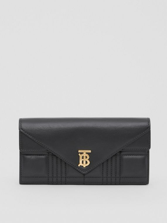 Monogram Motif Quilted Continental Wallet in Black