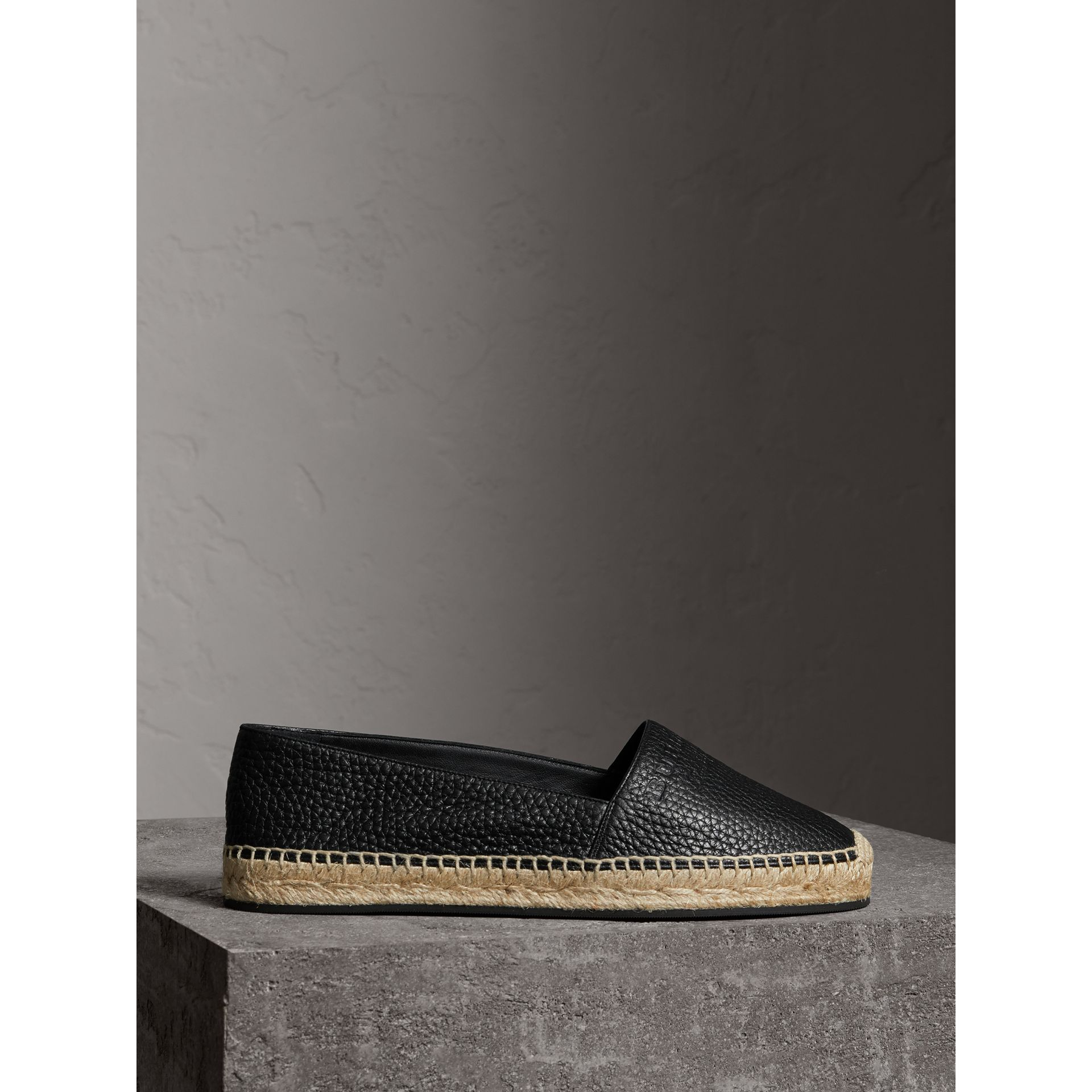 Embossed Grainy Leather Espadrilles in Black - Women | Burberry Canada - gallery image 4
