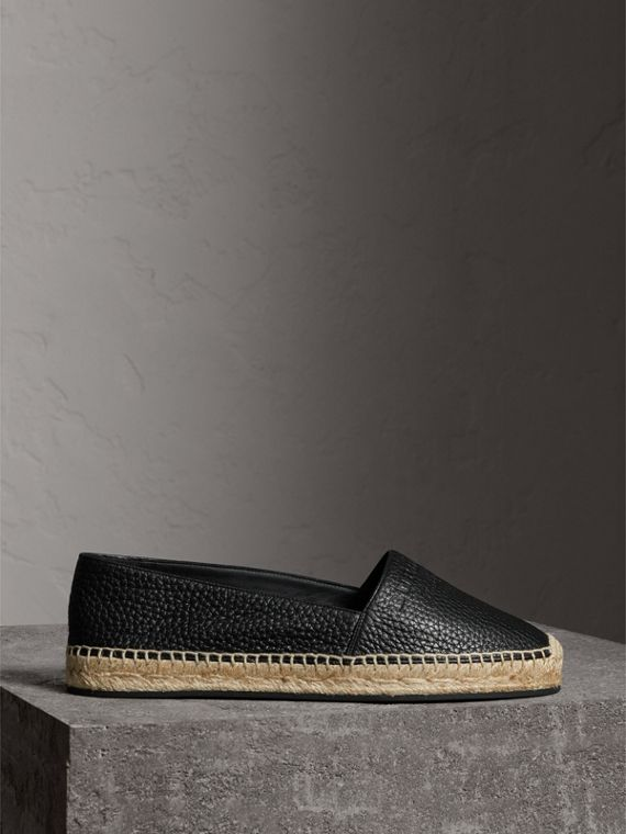 Embossed Grainy Leather Espadrilles in Black