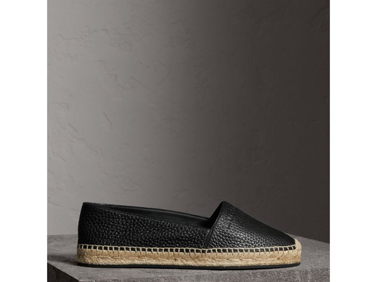 Embossed Grainy Leather Espadrilles in Black - Women | Burberry United Kingdom - cell image 4