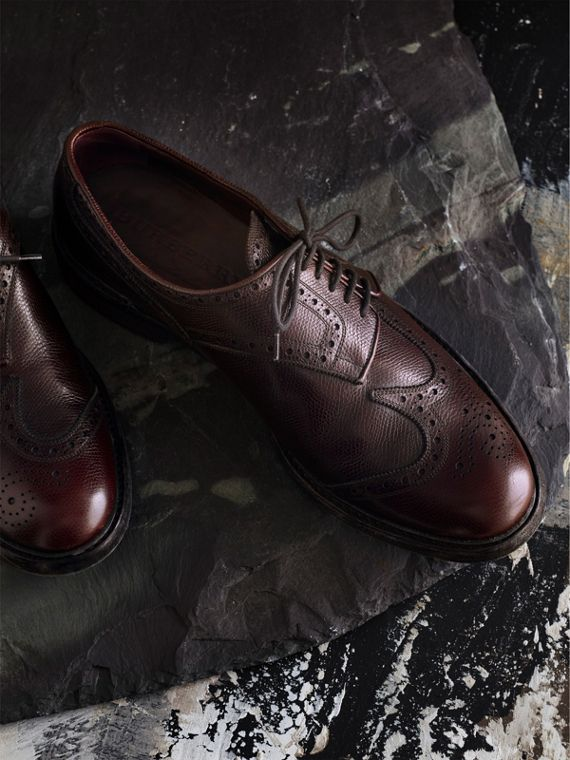 Leather Brogues with Asymmetric Closure in Burgundy - Men | Burberry