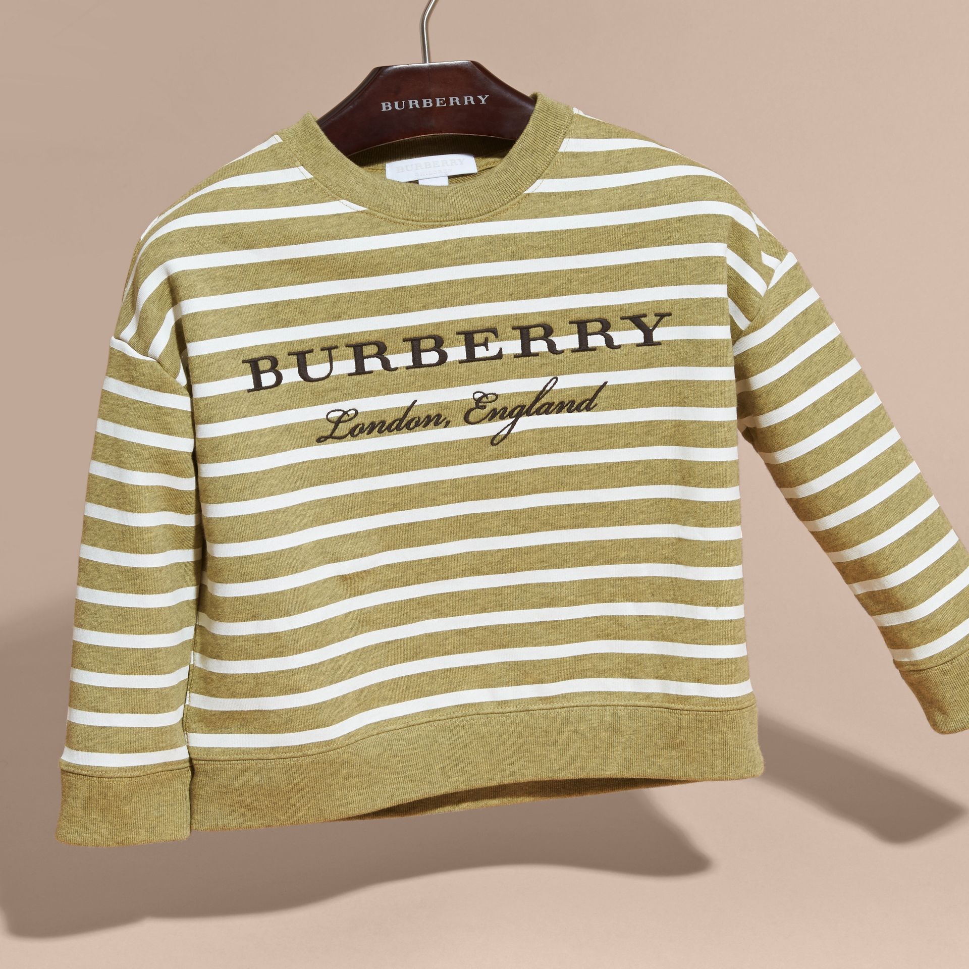 Striped Cotton Sweatshirt in Gorse Yellow Melange - Girl | Burberry - gallery image 3