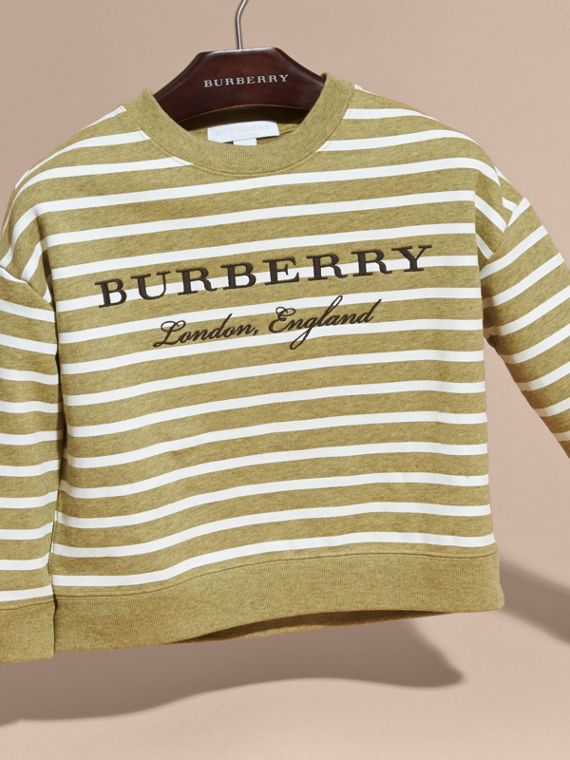 Striped Cotton Sweatshirt in Gorse Yellow Melange - Girl | Burberry - cell image 2