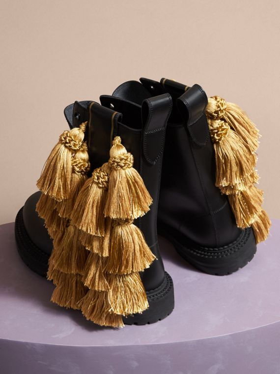 Black Tassel Detail Leather Army Boots - cell image 3