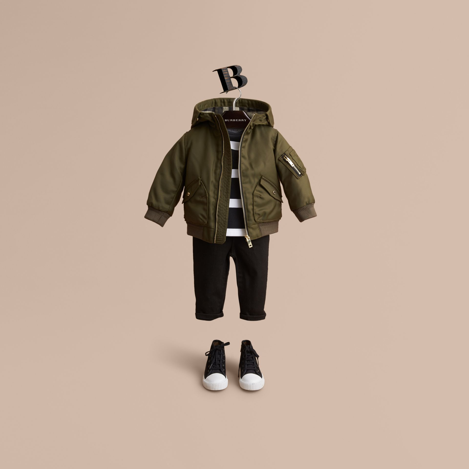 Hooded Technical Twill Bomber Jacket in Caper Green | Burberry - gallery image 1