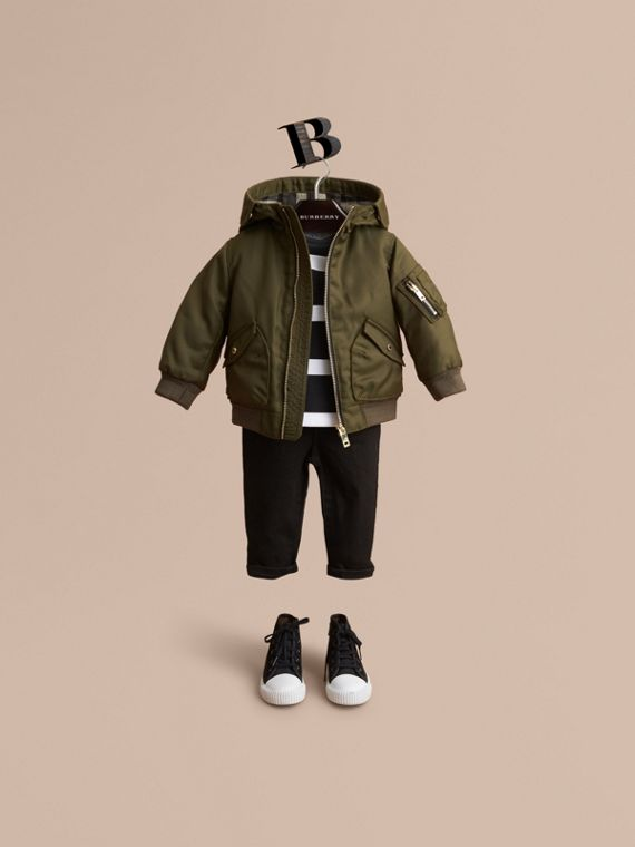 Hooded Technical Twill Bomber Jacket in Caper Green