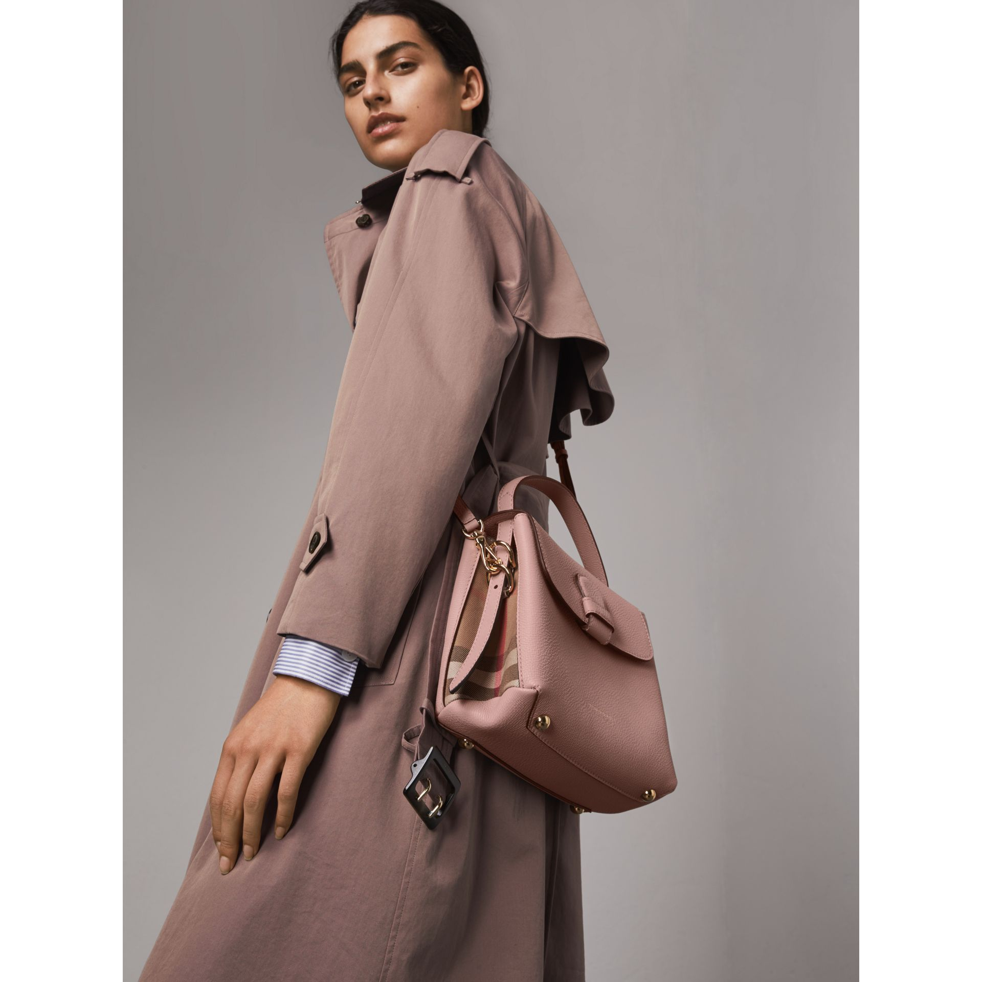 Small Grainy Leather and House Check Tote Bag in Pale Orchid - Women | Burberry United States - gallery image 2