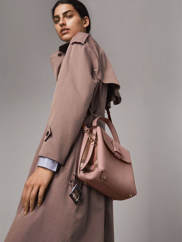 Small Grainy Leather and House Check Tote Bag in Pale Orchid - Women | Burberry - cell image 2