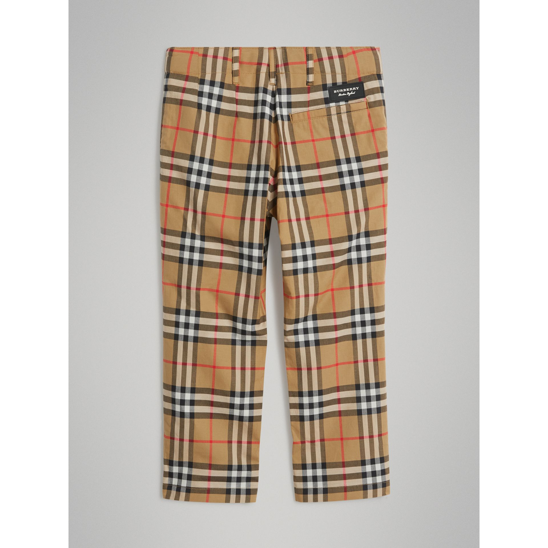 Vintage Check Cotton Tailored Trousers in Antique Yellow - Boy | Burberry - gallery image 3
