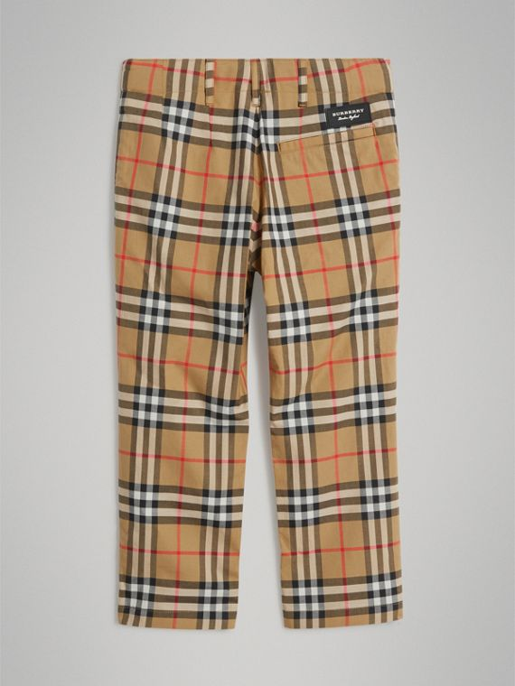 Vintage Check Cotton Tailored Trousers in Antique Yellow - Boy | Burberry United States - cell image 3
