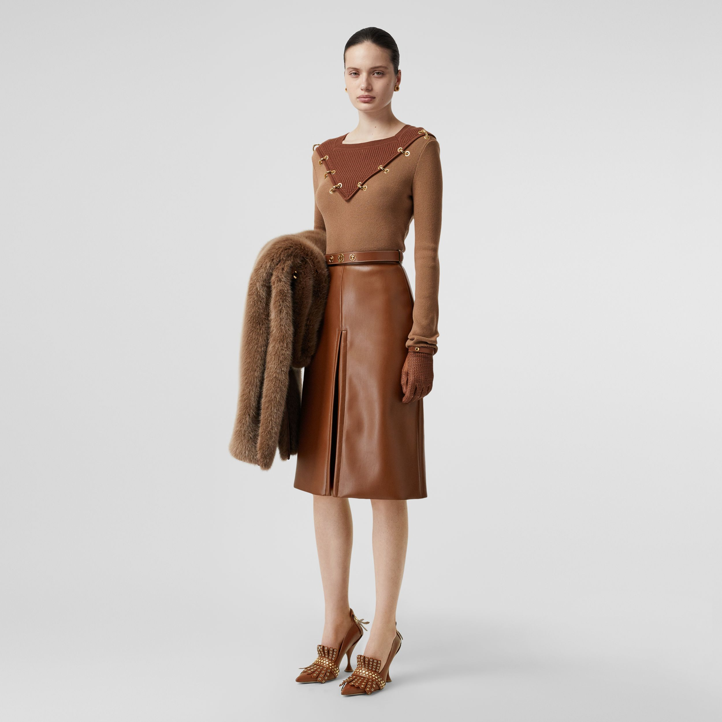 Box Pleat Detail Faux Leather Skirt in Dark Cheshnut Brown - Women | Burberry United Kingdom - 1