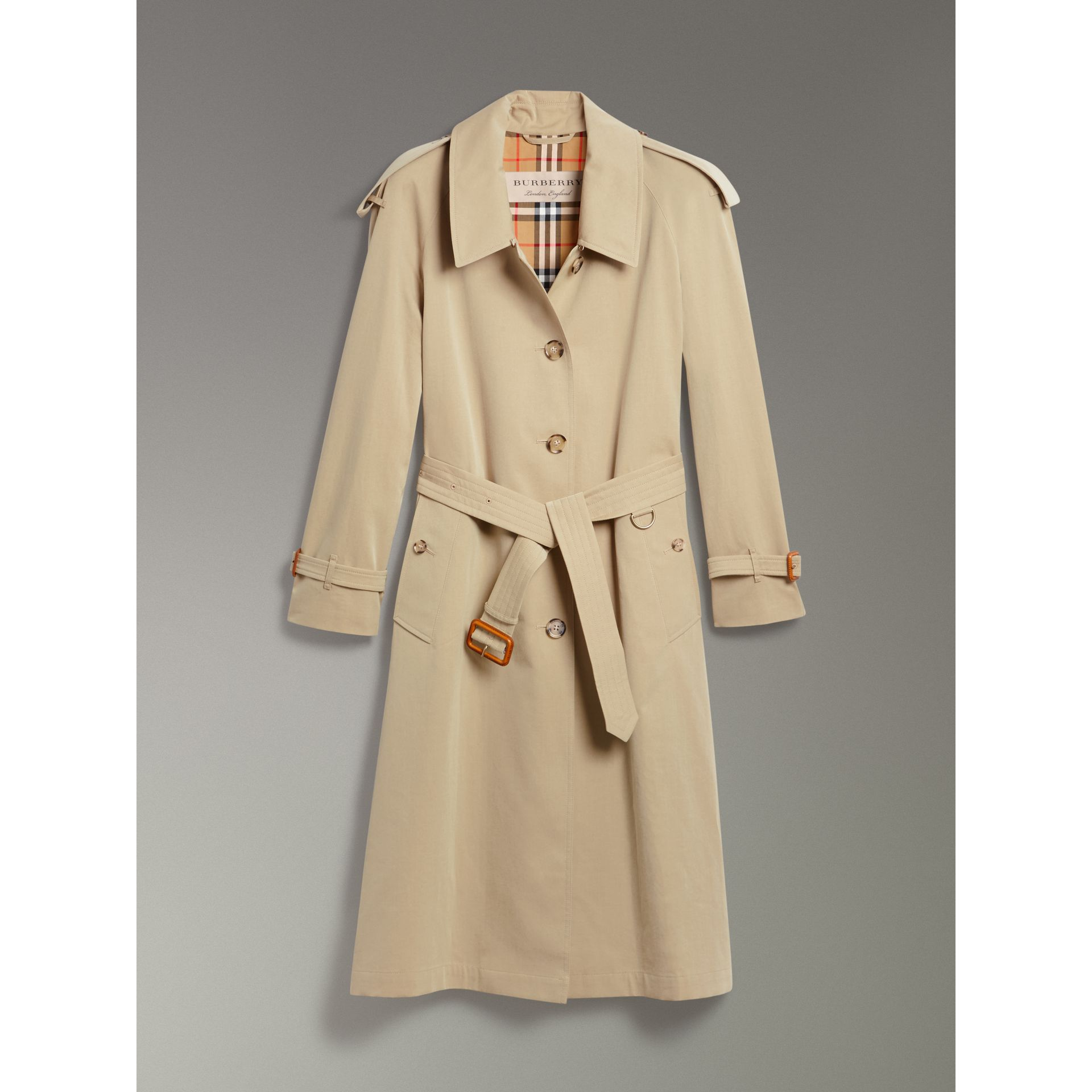 Side-slit Tropical Gabardine Trench Coat in Oatmeal - Women | Burberry United States - gallery image 3
