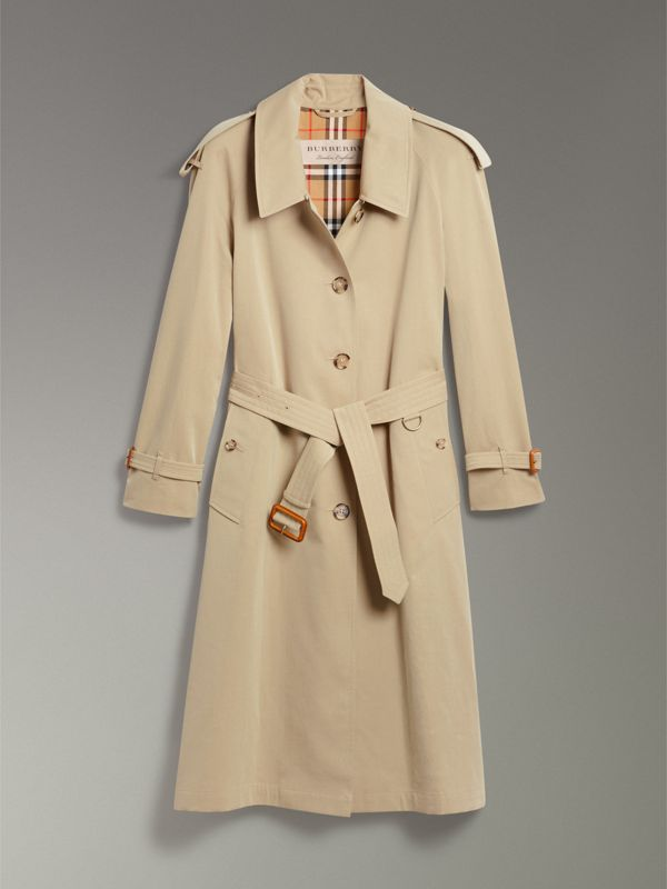 Side-slit Tropical Gabardine Trench Coat in Oatmeal - Women | Burberry United States - cell image 3