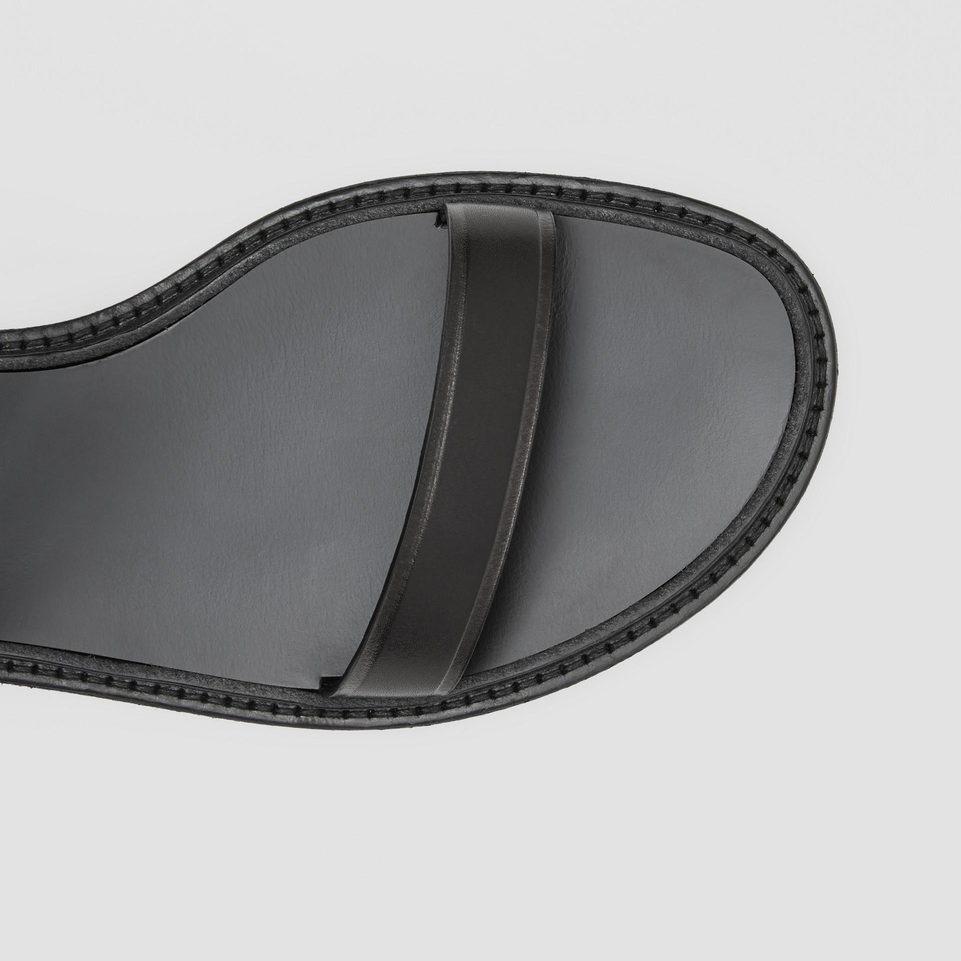 Monogram Motif Leather Sandals in Black - Women | Burberry United Kingdom - gallery image 1