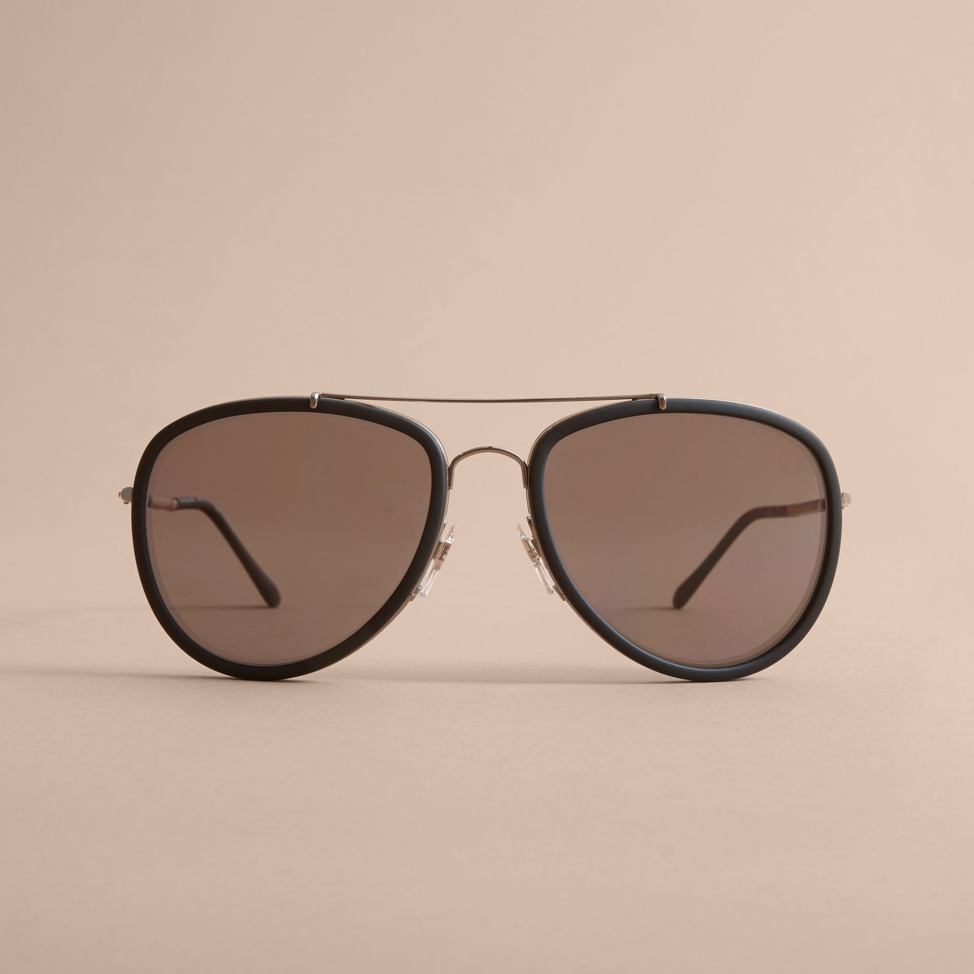 Check Detail Pilot Sunglasses in Black - Men | Burberry United States - gallery image 2