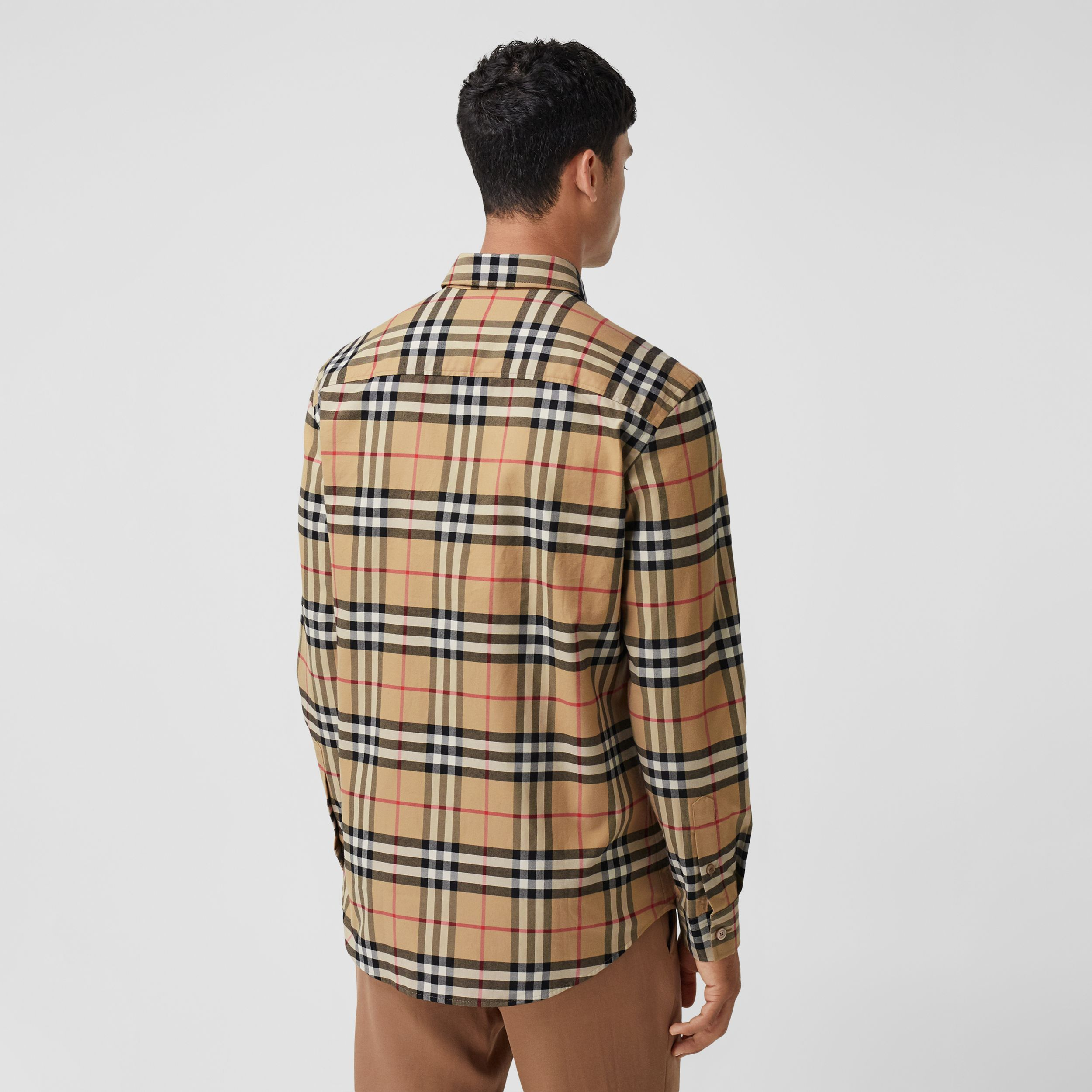 Vintage Check Cotton Flannel Shirt in Archive Beige - Men | Burberry - 3