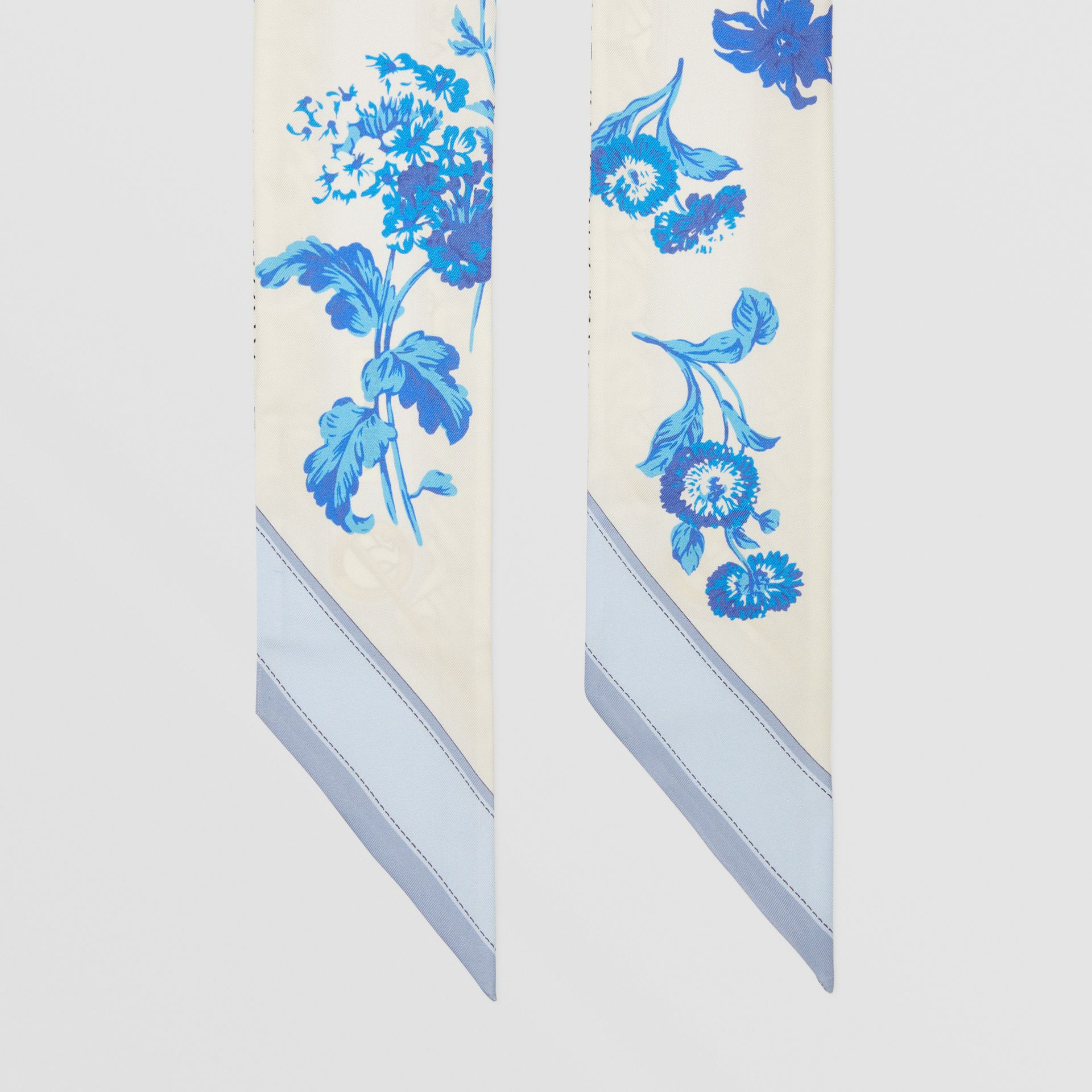 Floral and Monogram Print Silk Skinny Scarf in Pale Blue   Burberry United States - gallery image 2