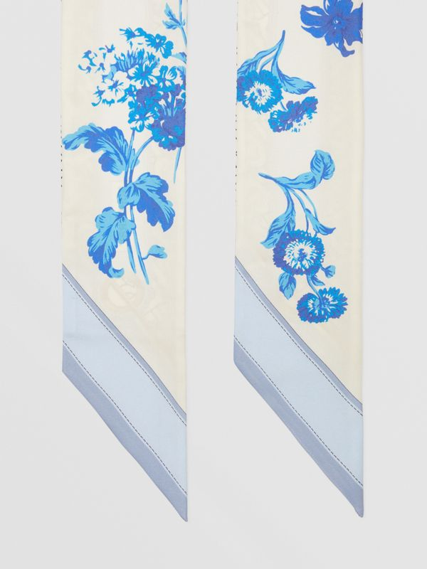 Floral and Monogram Print Silk Skinny Scarf in Pale Blue   Burberry United States - cell image 2