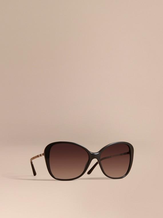 格紋細節設計蝶形鏡框太陽眼鏡 黑色