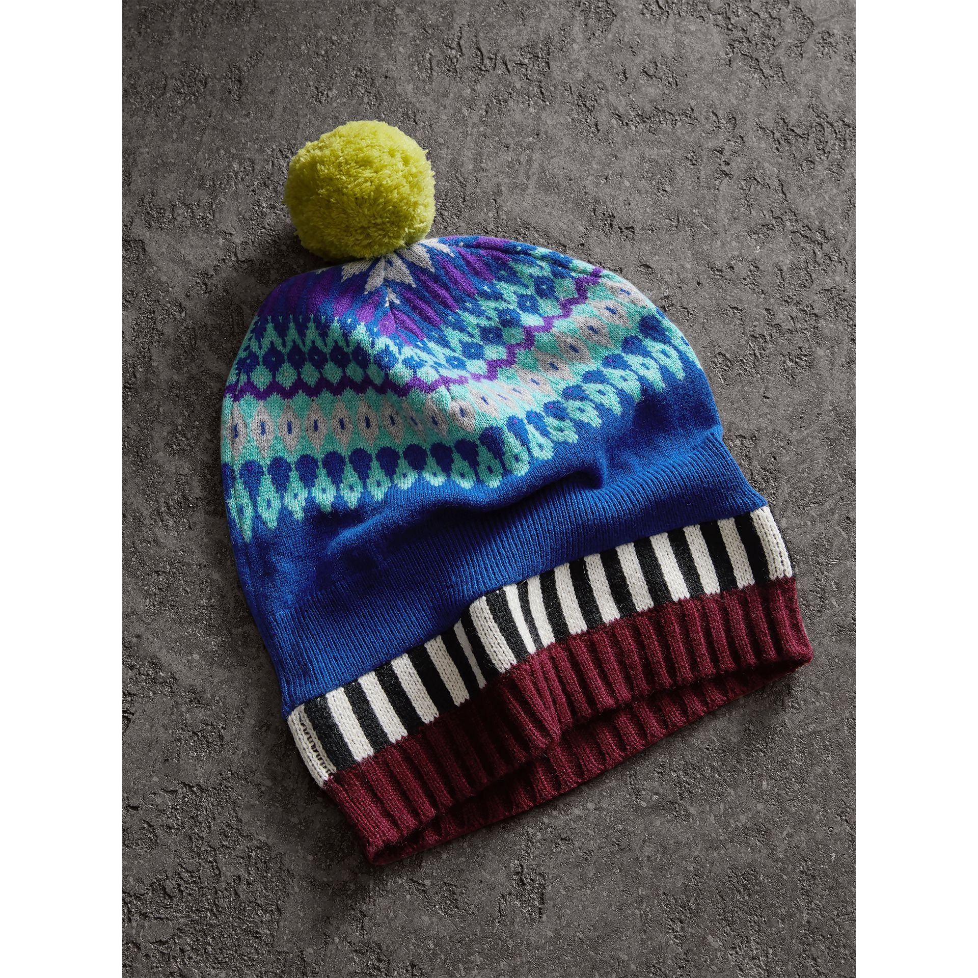 Fair Isle Cashmere Wool Pom-pom Beanie in Bright Blue | Burberry Hong Kong - gallery image 2