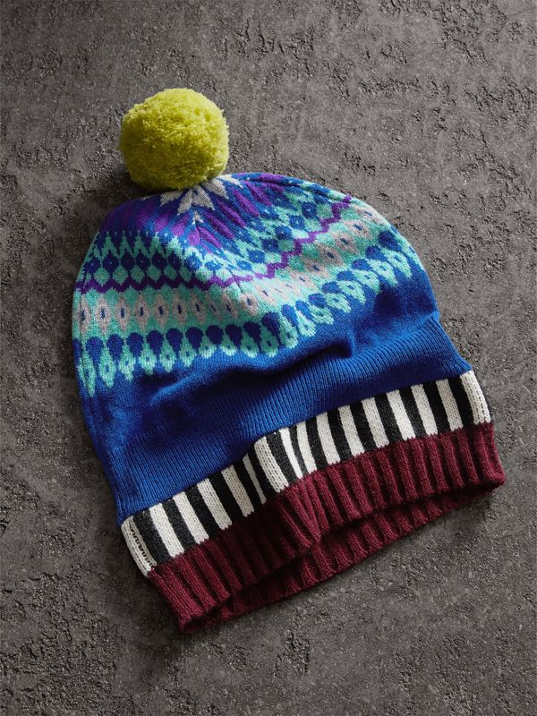 Fair Isle Cashmere Wool Pom-pom Beanie in Bright Blue - Women | Burberry - cell image 2