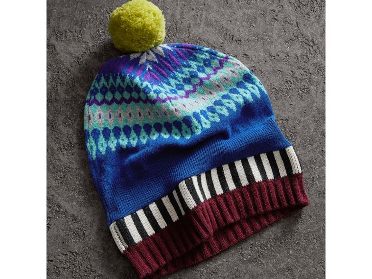 Fair Isle Cashmere Wool Pom-pom Beanie in Bright Blue | Burberry - cell image 2