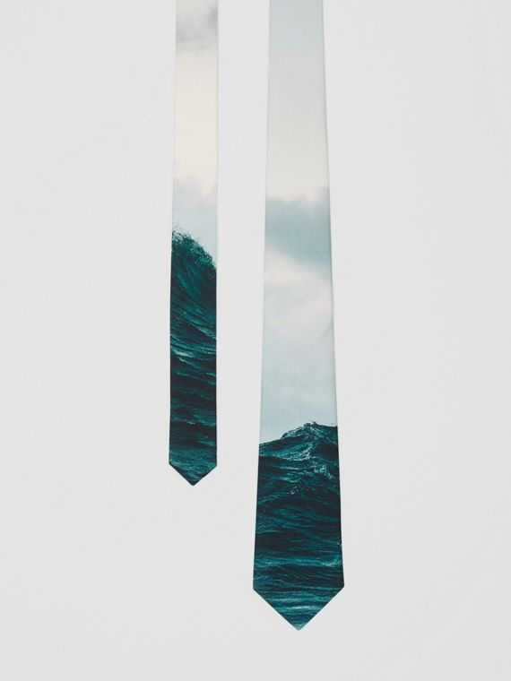 Classic Cut Sea Print Silk Tie in Deep Teal