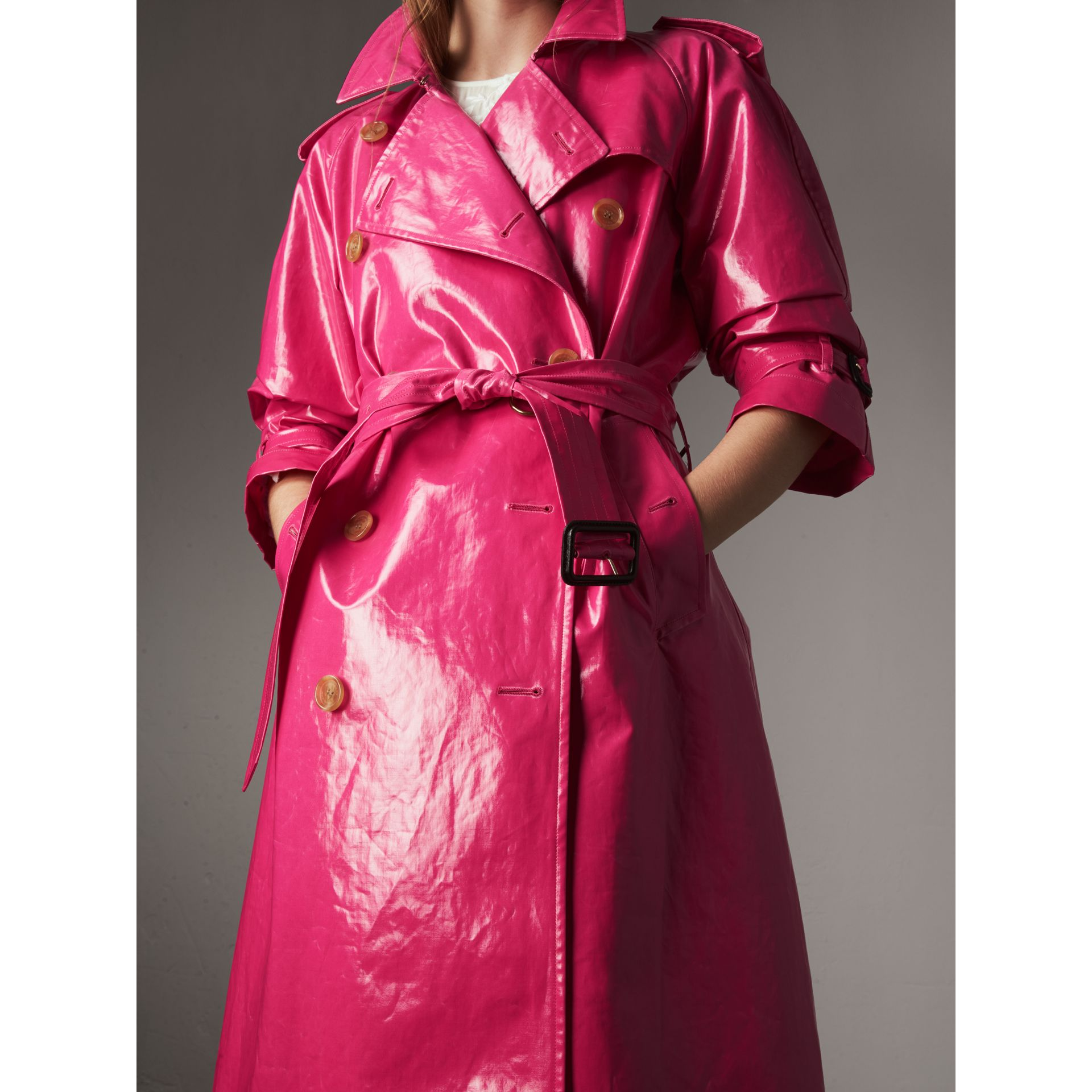Laminated Cotton Trench Coat in Neon Pink - Women | Burberry - gallery image 3